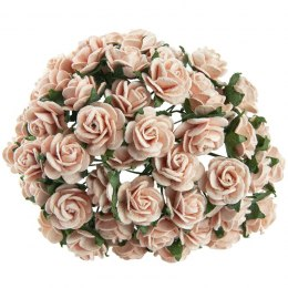 PEACH MULBERRY PAPER OPEN ROSES - 20 mm