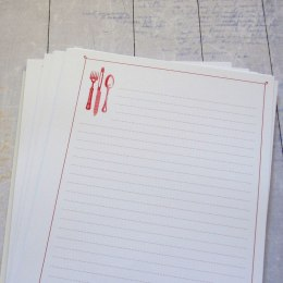 Culinary notebook inner pages, red