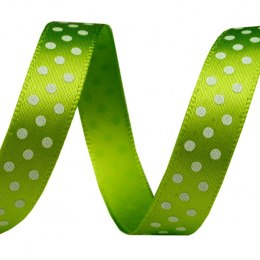 Satin ribbon 10mm - polka dots yellow