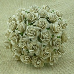 Dove grey mulberry paper open roses- 15mm
