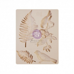 Silicone mould little birds and fern leaves Finnabair - Prima Marketing