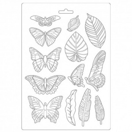 Soft Silicone mold - butterflies and leaves- Stamperia - 21x29,7 cm