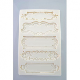 Silicone mould - 5 decorative rectangle frames