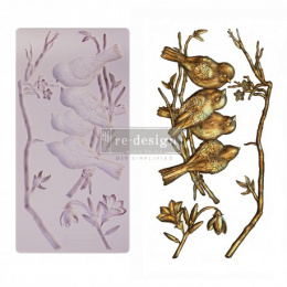 Silicone mould - Avian love - birds and twigs -Prima Redesign