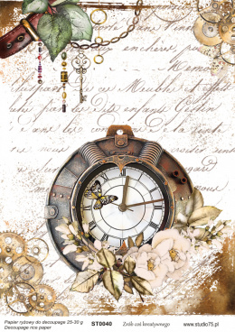 Decoupage rice paper - Vintage composition with clock - ST0040- Studio75