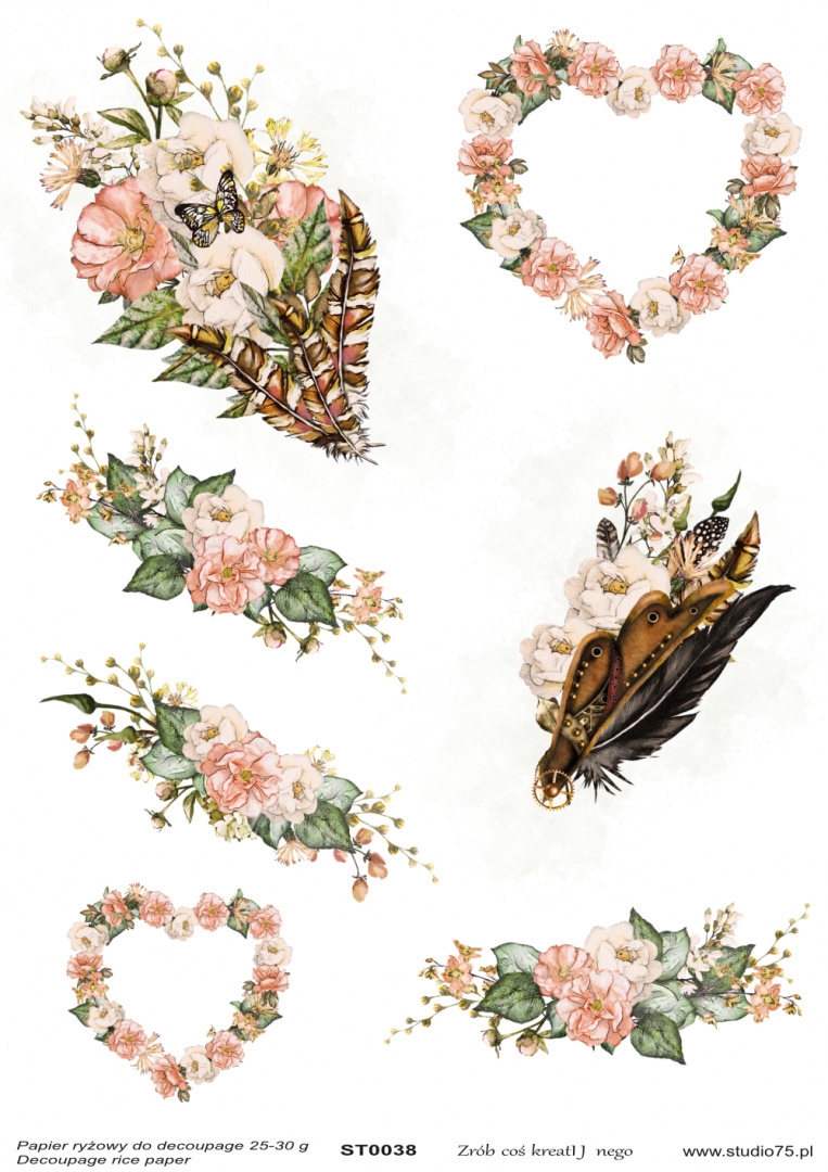 Decoupage rice paper - Vintage decors and hearts - ST0038- Studio75