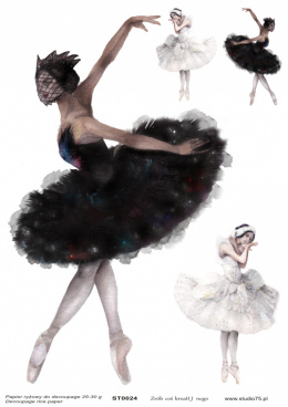 Decoupage rice paper - black swan - balett dancer - Studio75