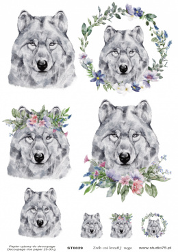 Decoupage rice paper -gray wolfes - Studio75