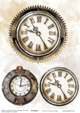 Decoupage rice paper - 3 Vintage clocks - ST0042 - Studio75