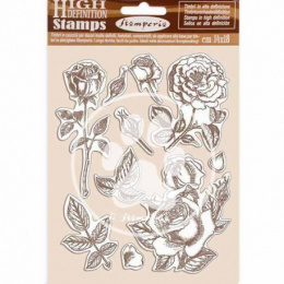 Scrapbooking stamps - roses and leaves - Passion - Stamperia - 14x18 cm
