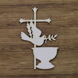Laser cut chipboard - pigeon with cross and font