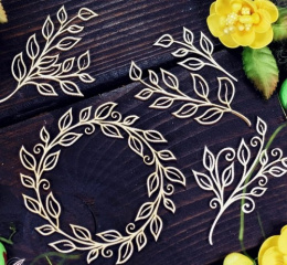 Laser cut chipboard - wreath and twigs - 5 pieces