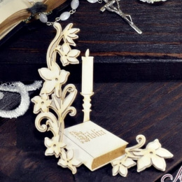 Laser cut chipboard - holy bible, flowers, rosary
