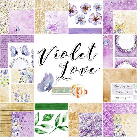 Violet love zestaw paper set, 12 pcs