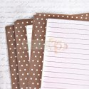 Notebook inner pages, brown dots A5