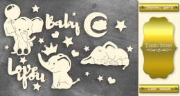 "Gold chipboards set ""My little baby boy-1"", Fabrika Decoru"