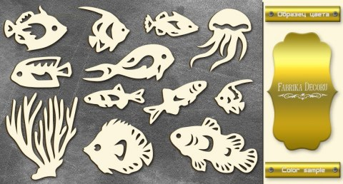 "Gold chipboards set ""Marine life-1"", Fabrika Decoru"
