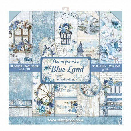 STAMPERIA-SET OF PAPERS 30x30cm BLUE LAND