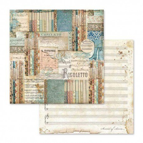 STAMPERIA-SET OF PAPERS 30x30cm MUSIC