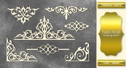 "Gold chipboards set ""Monograms 2"", Fabrika Decoru"
