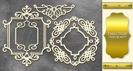 "Gold chipboards set ""Frames 2"", Fabrika Decoru"