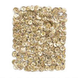 HOLOGRAPHIC SEQUINS 9 MM, 15 G - LIGHT GOLD