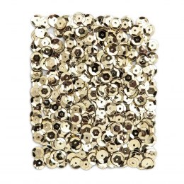METALLIC SEQUINS 9 MM, 15 G - LIGHT GOLD