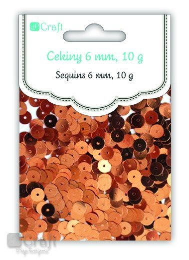 ROUND FLAT SEQUINS, 6 MM, 10 G - COPPER