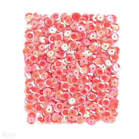 OPALESCENT SEQUINS 9 MM, 15 G - CORAL
