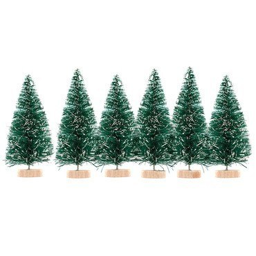 CHRISTMAS TREES EMBELLISHMENTS 5 CM, 6 PCS - GREEN