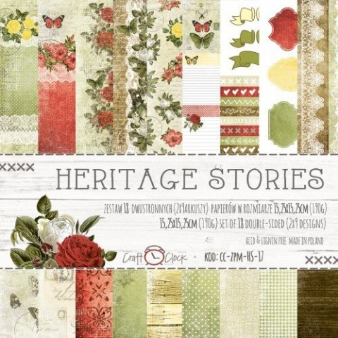 HERITAGE STORIES - a set of papers 15,25x15,25cm