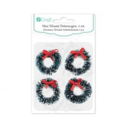 CHRISTMAS WREATHS EMBELLISHMENTS 3,5 CM, 4 PCS - GREEN