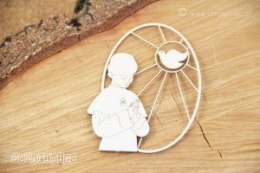 Laser cut chipboard - communion boy with dove - Scrapiniec