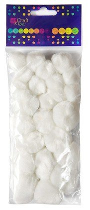 ASSORTED ACRYLIC WHITE POM POMS, 24 PCS