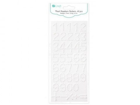 PEARL NUMBERS STICKERS, 40 PCS, - WHITE