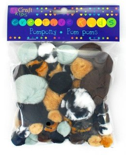 ASSORTED ACRYLIC ANIMAL PRINTS POM POMS , 56 PCS