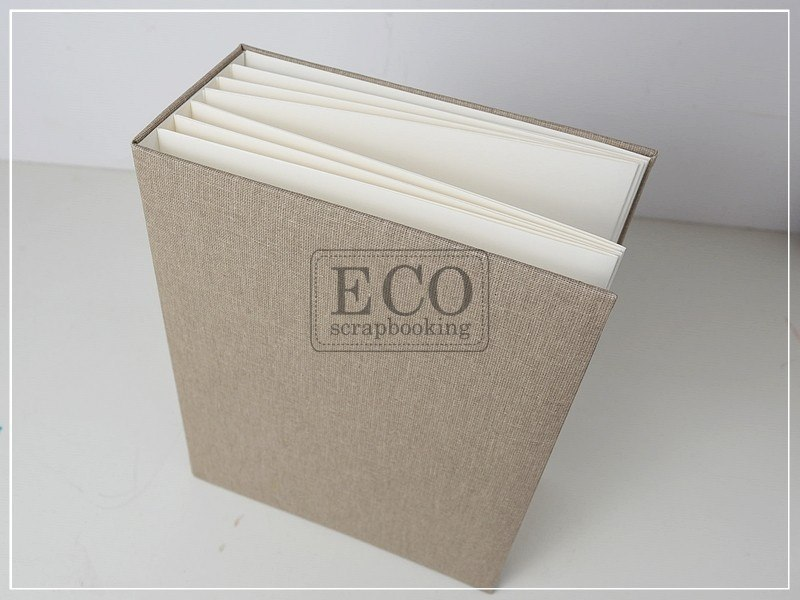 16x21 cm Hidden hinge album creamy vertical with a natural canvas, 6 cards