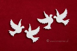 Laser die cut chipbord - doves - 4 pcs