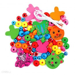 WOODEN BEADS - ANIMALS, 67 PCS