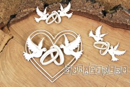 3D Laser die cut chipboard - wedding heart with doves and rings