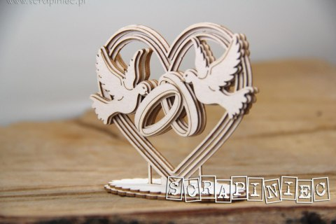 Love in 3D - Heart, doves and rings 3D