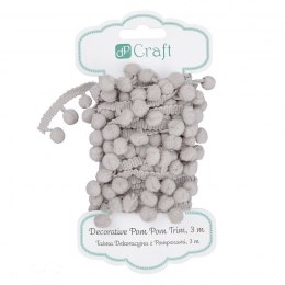 DECORATIVE POM POM TRIM, 3 M - GREY