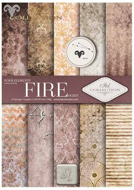 ''Fire''- set of scrapbooking paper