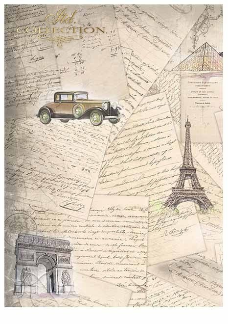 ''Old cars''- set of scrapbooking paper