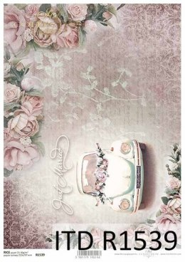 Rice paper - retro, flowers, beautiful roses, wedding car