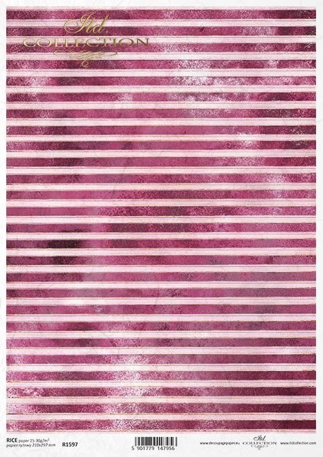 Rice paper A3 - stripes in rosy colour and gold