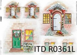 Rice paper A3 - stylish wooden doors, windows with holiday decorations 2