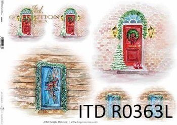 Rice paper A3 - stylish wooden doors, windows with holiday decorations