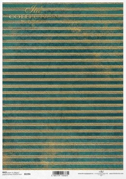 Rice paper A3 - gold-green stripes coming in turquoise
