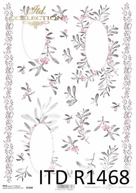 Rice paper - Christmas, flowers, decors, floral motifs for handkerchiefs